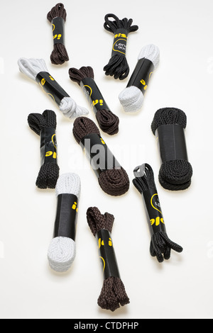 Pile of mixed nylon shoe and boot laces - Stock Photo