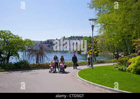 View of city of Lugano from Parco Civico, Lugano, Lake Lugano, Ticino, Switzerland, Europe - Stock Photo