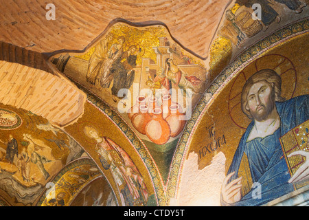 Istanbul, Turkey. Byzantine Church of St. Saviour in Chora. Mosaics, including Miracle of Wine and Water and Jesus - Stock Photo