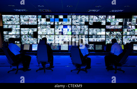 CCTV control room for Birmingham City Centre. - Stock Photo