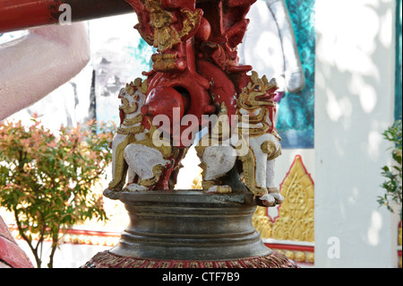 Wooden carving, Dhammikarama Burmese Temple, Georgetown, Penang, Malaysia. - Stock Photo