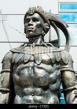 Shaka Zulu restaurant statue. Camden, London - Stock Photo