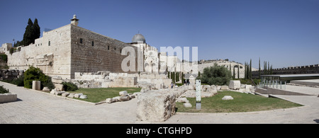 Panoramic View showing the Temple Mount in the Old City of Jerusalem - Stock Photo