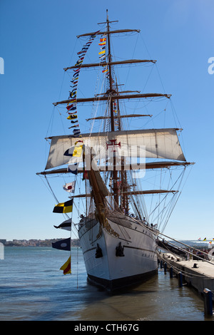 Sagres school ship, Lisbon, Portugal - Stock Photo