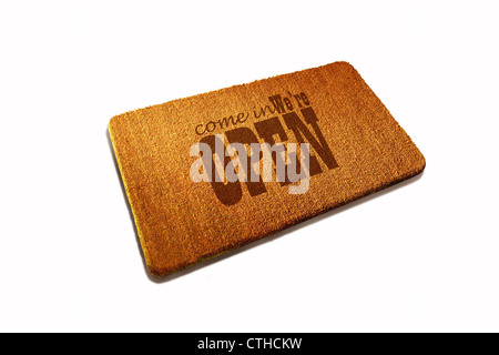 Welcome Door mat natural fiber on white background - Stock Photo