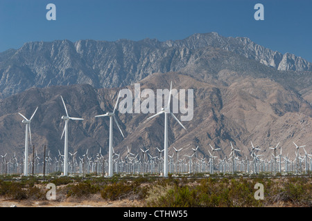 Large Wind Mill Farm With Desert Mountain In The Distance And Blue Sky; Palm Springs, California, United States - Stock Photo