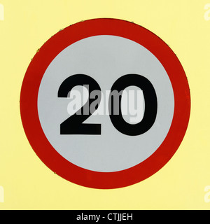 20 Speed Limit road sign - Stock Photo