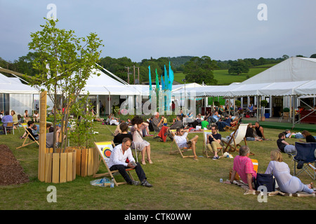 Central garden at the Guardian Hay Festival of Literature, Hay-on-Wye, Powys, Wales, Cymru, UK, United Kingdom, - Stock Photo