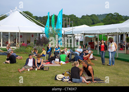 Central garden at the Guardian Hay Festival of Literature 2010, Hay-on-Wye, Powys, Wales, Cymru, UK, United Kingdom, - Stock Photo