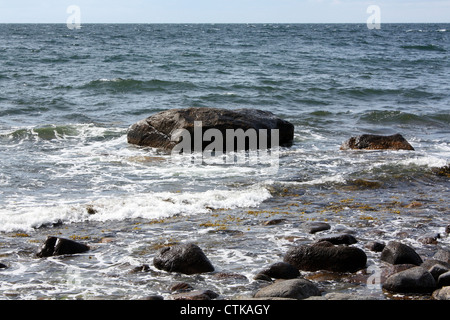 Rocks on the Baltic Sea at Bornholm. Denmark - Stock Photo