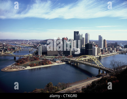 Pittsburgh, Pennsylvania skyline, taken from Mount Washington. At the 'tip' is Point State Park. - Stock Photo