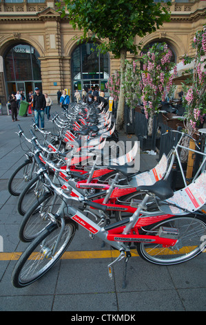Bicycles parked in front of Hauptbahnhof main railway station Frankfurt am Main city state of Hesse Germany Europe - Stock Photo