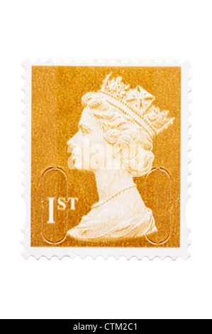 A 1st class postage stamp on a white background - Stock Photo