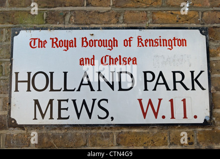 street name sign for holland park mews, london, england - Stock Photo