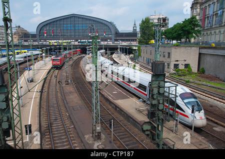 Tracks outside Hauptbahnhof the main railway station Mitte central Hamburg Germany Europe - Stock Photo