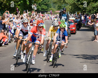 London 2012 Olympics, cycling, men's road race. The leading group at Ripley, Surrey. - Stock Photo