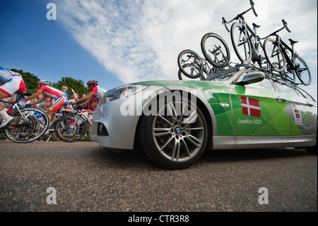 London Olympic Games 2012, Cycling; Mens Road Race outbound in Richmond Park 28.7.12 - Stock Photo
