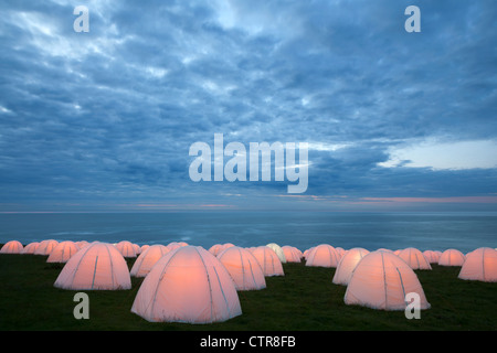 Peace Camp at Dunstanburgh Castle, Northumberland - Stock Photo