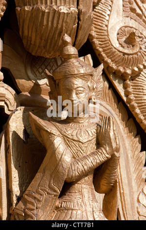 Bagan, Myanmar, Burma. Traditional Deity, a Nat, in Temple Decoration, Shwezigon (Shwezegon) Pagoda.  11th Century. - Stock Photo