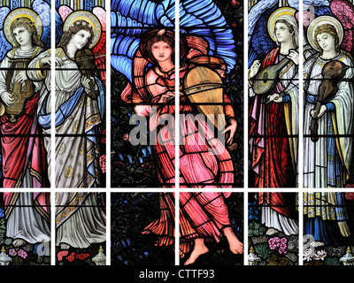 A polyptych depicting five winged-angels playing stringed instruments - Stock Photo