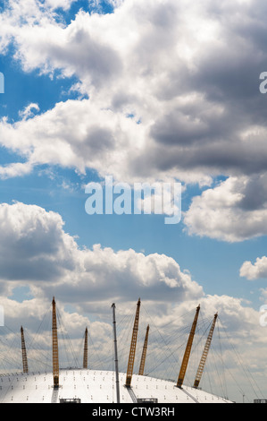 The roof of the O2 Arena seen from across the river Thames. - Stock Photo