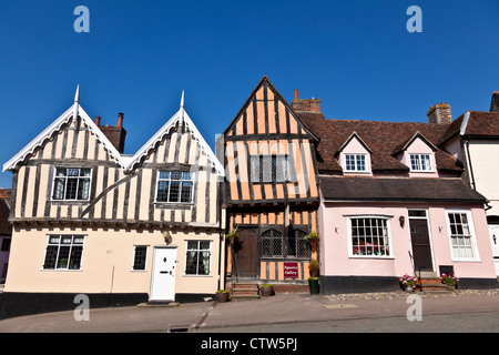 Row of Cottages in Lavenham Suffolk - Stock Photo
