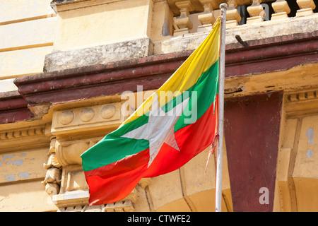Myanmar flag, Yangon - Stock Photo