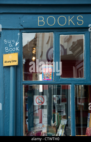 Secondhand bookshop. Hay on Wye, Powys, Wales. - Stock Photo