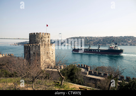 Rumeli Rumelihisar fortress castle Istanbul Turkey - Stock Photo