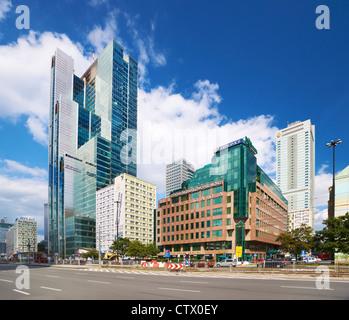 Modern center of Warsaw, Poland, Europe - Stock Photo
