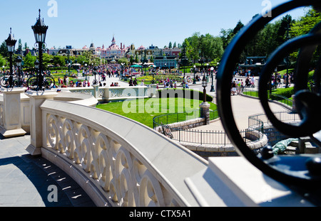 Disneyland Paris. View from Sleeping Beauty Castle walkway back toward the Disneyland Hotel - Stock Photo