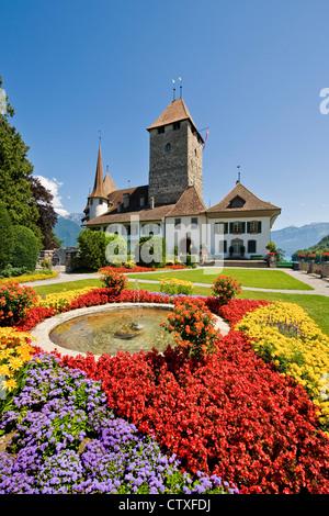Switzerland, Canton Bern, Spiez, medieval castle - Stock Photo