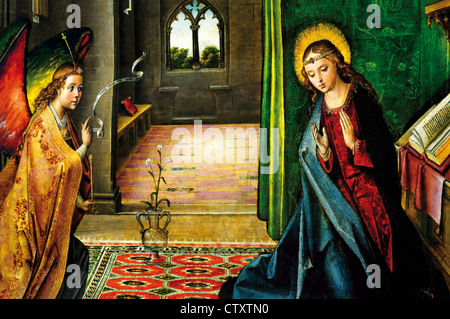 Spain, Burgos: Oil drawing of the 'Annunciation of Virgin Mary' in the museum of Monastery Cartuja de Miraflores - Stock Photo