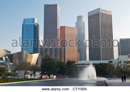 Water Fountain at Department of Water and Power, Los Angeles, California - Stock Photo