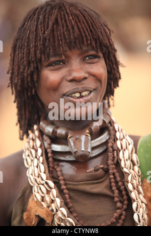 Tribal woman in Omo valley, south-Ethiopia, Africa - Stock Photo