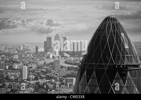 United Kingdom. England. City of London. High, panoramic viewpoint. Gherkin building and Canary Wharf. - Stock Photo