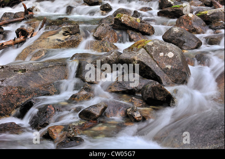 Waterfall at the Pont d'Espagne in the Hautes-Pyrénées near Cauterets, Pyrenees, France - Stock Photo