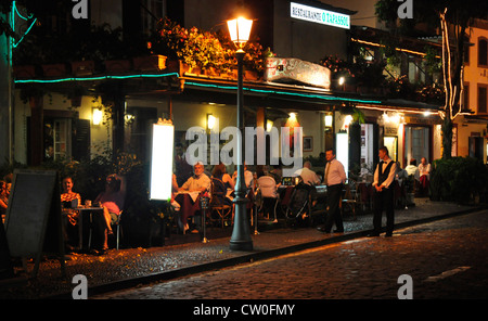 Portugal - Funchal Zona Velha - open air restaurant night life - on the Rua D Carlos in the old town - Stock Photo