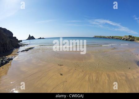 Church Rock and Broad Haven beach in spring sunshine, Pembrokeshire National Park, Wales, Cymru, UK, United Kingdom, - Stock Photo