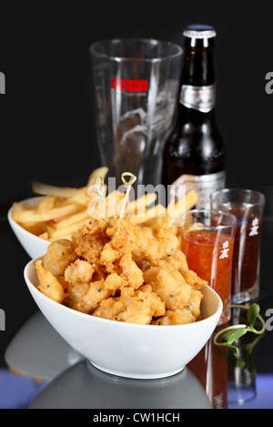 Chicken Tampura - Deep fried chicken and batter with french fries - Stock Photo