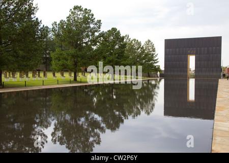 Reflecting Pool, Oklahoma National Memorial & Museum, Oklahoma City, OK, USA. - Stock Photo