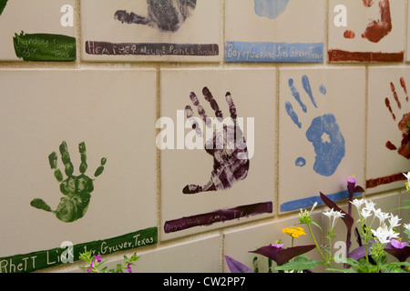 Wall of hand-painted tiles, Chidren's Area, Oklahoma National Memorial & Museum, in memory of tragic 1995 bombing, - Stock Photo