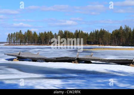 Typical Finnish lake, pure water, the Arctic Circle,taiga,nature,wild,arctic landscape,frozen,karelia, finland, - Stock Photo