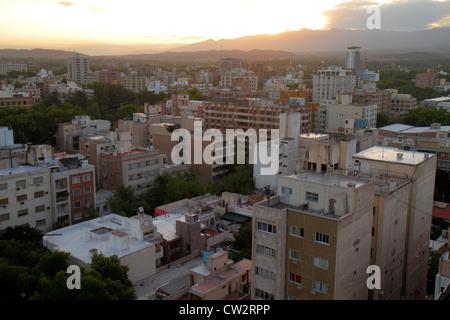 Mendoza Argentina aerial view from Edificio Gomez skyline buildings high rise apartments housing high-density urban - Stock Photo