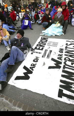 Large anti war rally leading up to the Iraq war in Washington DC on Jan. 19, 2003. - Stock Photo
