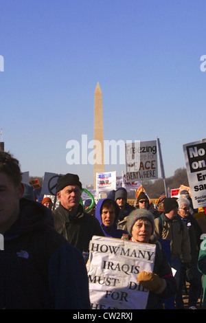 Large anti war rally leading up to the Iraq war on the National Mall in Washington DC on Jan. 18, 2003. - Stock Photo
