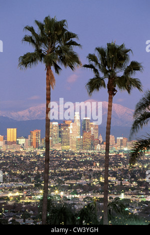 This Los Angeles skyline with two palm trees in winter. Snowy Mount Baldy in background. It view from Baldwin Hills - Stock Photo