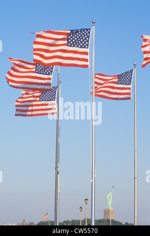 American Flags, Liberty Park, New Jersey - Stock Photo