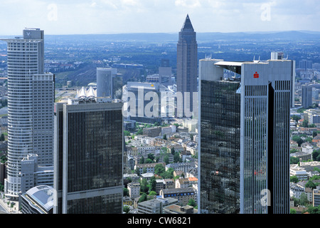 view from the Maintower on the financial quarter and Messeturm, Germany, Hesse, Frankfurt a. M. - Stock Photo