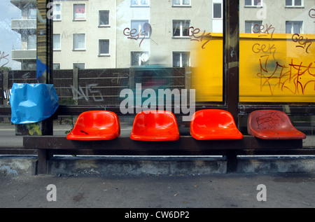 Bus stop on the A 40 in Essen - Stock Photo